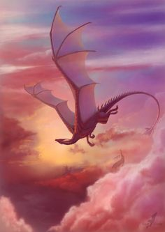 Close to heaven by =AlviaAlcedo on devianart. i love dragons, and i love the warm, rosy colors in this