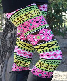 Loving this Pink & Yellow Abstract Leggings on #zulily! #zulilyfinds