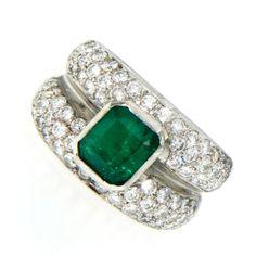 2.50 Carat Colombian Emerald Diamond Ring