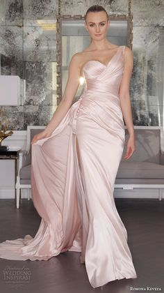 romona keveza fall 2016 luxe bridal one shoulder beautiful pink blush color satin wedding dress gown with train rk6454