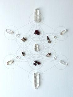 WALL ART Feng Shui, Sacred Geometry, Crystal Grid, Metaphysical Art, clear quartz, garnet, smoky quartz. $169.00, via Etsy.