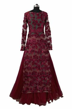 Featuring a Rumena Begum Special lehenga in a gorgeous tulle skirt. It is paired with a long floral embroidered jacket style top with a shimmer see through burgundy dupatta. Anarkali Dress, Pakistani Dresses, Indian Dresses, Indian Outfits, Kurti Designs Party Wear, Lehenga Designs, Floral Lehenga, Party Wear Lehenga, Indian Attire