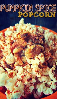 2 Cups Air Popped Popcorn   1 Tbsp Olive Oil  1/2 Tbsp Pumpkin Spice   1/2 Tsp Ground Cinnamon  1 Tbsp Walnuts