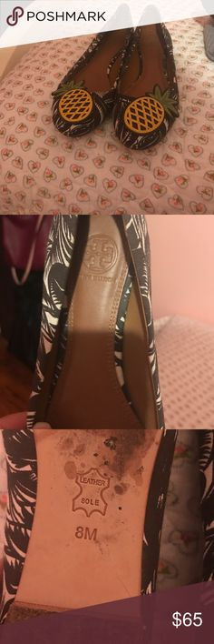 Tory burch pineapple flats Got these at Nordstrom they are a half size bigger but I didn't care bc come one then pinapples I wore them twice the reason why sols looks like I have used em more then twice is bc i walked on a stone path and I was trying to avoid my shoe flying off my foot Tory Burch Shoes Flats & Loafers