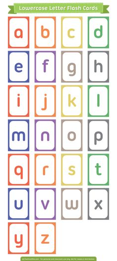 Free printable lowercase letter flash cards. Download them in PDF format at http://flashcardfox.com/download/lowercase-letter-flash-cards/