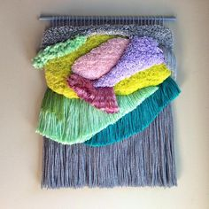 Woven wall hanging / Furry Seascape n. by jujujust, on Etsy Art Fibres Textiles, Art Textile, Weaving Textiles, Fibre Textile, Tapestry Weaving, Weaving Wall Hanging, Tapestry Wall Hanging, Wall Hangings, Loom Weaving