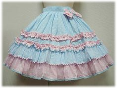 Angelic Pretty Colourful Drop Skirt (sax bluexpink)