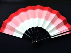 Japanese Dance Fan Mai Ogi Red Pink Ombre by VintageFromJapan