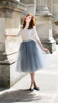 Bespoke New Women Tulle Tutu Skirt Formal Ball Prom Party Skirt Dance Wear Skirt in Clothing, Shoes & Accessories, Women's Clothing, Skirts Grey Tulle Skirt, Tulle Skirts, Midi Skirt, Jw Moda, Look Fashion, Fashion Beauty, Lolita Fashion, Skirt Fashion, Swing Rock