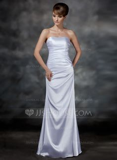 Sheath/Column Sweetheart Floor-Length Charmeuse Evening Dress With Ruffle (017022547)