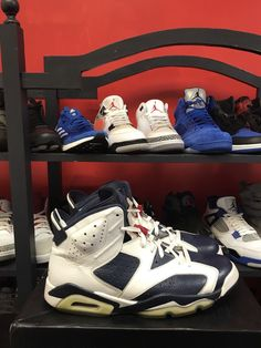 Nike 2012 Air Jordan 6 VI Retro Olympic Navy Red 384664-130 Blue White | eBay