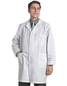 Red Kap Uniforms features KP14WH mens lab coats in a classic style. The design includes: a one piece, lined, notched lapel collar; long set-in sleeves; and five gripper buttons for closure.