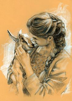 drawing of women and goat kid #goatvet