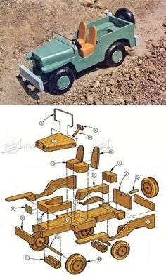 Wooden Toy Jeep Plans - Wooden Toy Plans and Projects - Woodwork, Woodworking, Woodworking Plans, Woodworking Projects Wooden Toy Trucks, Wooden Car, Woodworking Toys, Woodworking Projects, Making Wooden Toys, Wood Toys Plans, Wood Games, 3d Cnc, Easy Wood Projects