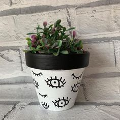 Hand Painted Black and White Eyes Evil Eye Painted Plant Pot Painted Plant Pots, Painted Flower Pots, Hanging Plants, Potted Plants, Flower Pot Art, Eye Painting, White Eyes, Succulent Pots, Diy Planters