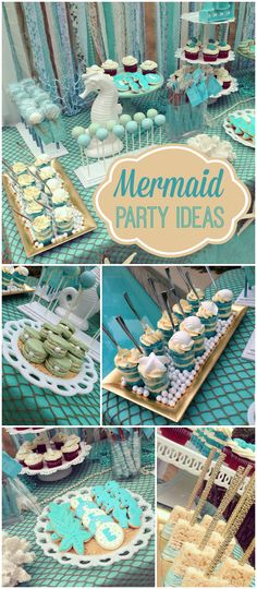 What a pretty sweet 16 party! The under the sea theme looks great in teal! See more party ideas at CatchMyParty.com!