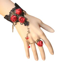 Look for this red rose beaded lace bracelet with flower ring presented by Returnfavors was decorated with beautiful red color flower will give the shining appearence in the matching wardrobe as the unique fashion accessory.The lace chain design bracelet was made from soft lace bracelet looks classy can be tailored for any occasions.