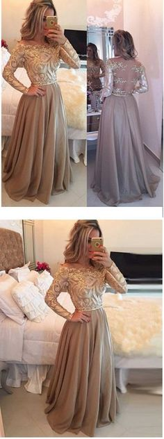 A-Line Cowl Gold Long Prom Dresses,Long Sleeves Evening Dress ,Long Chiffon Prom Gown,Appliques Party Dress With Beading