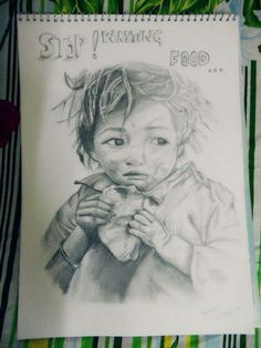 topic based pencil sketch.. SAVE FOOD FOR CHILDREN .. STOP WASTING FOOD .. Khushara;s Art
