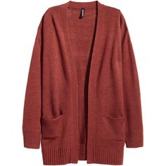 Knit Cardigan $24.99 ($25) ❤ liked on Polyvore featuring tops, cardigans, h&m, long sleeve tops, red cardigan, drop shoulder tops, knit top and red knit top