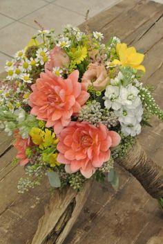 Wild flower bridal bouquet with dahlia,stock,freesia,matricaria,seeded eucalyptus,scabiosa pot,astilbe