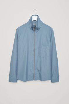 COS image 2 of Zip-up shirt jacket in Slate Blue