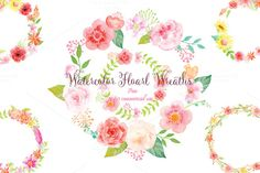 Watercolor pink floral wreaths by Corner Croft on Creative Market