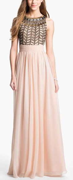 JS Collections Embellished Chiffon Gown available at Nordstrom Bridesmaid Dresses, Prom Dresses, Formal Dresses, Dress Prom, Spring Dresses, Bridesmaids, Pretty Outfits, Pretty Dresses, Moda Outfits