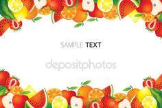 Gemengde vruchten, Frame, rand — Stockvector #59246965