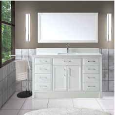 Abbey 60 Inch Single Bathroom Vanity Carrara White Includes Shaker Style Cabinet With Soft Close Drawers Doors Italian Caylie Home Bath