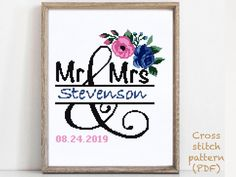 Stitching Patterns, Cross Stitching, Cross Stitch Embroidery, Print Patterns, Wedding Cross Stitch Patterns, Modern Cross Stitch Patterns, Alphabet And Numbers, Wedding Gifts, Crafts