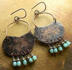 Rustic Copper Chandelier Earrings by Gloria Ewing.