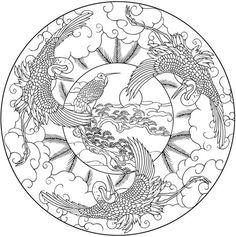 Welcome to Dover Publications Mandala nature:crane, tree, sun, cloud. Bird Coloring Pages, Doodle Coloring, Mandala Coloring Pages, Adult Coloring Pages, Coloring Books, Mandalas Painting, Mandalas Drawing, Zentangles, Mandala Design