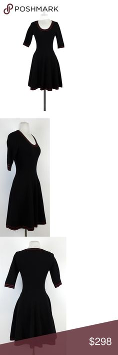 """Prabal Gurung-Black Wool Fit & Flare Dress Sz XS Wool fit & flare dress flatters your figure and keeps you warm. Black, red & gold color makes it perfect for the holiday season. Size XS 100% wool 3/4/ sleeves Slips on Fabric shows signs of wear Shoulder to hem 36"""" Prabal Gurung launched his eponymous collection in February 2009 with a philosophy encompassing modern luxury, indelible style and an astute sense of glamour. Prabal Gurung Dresses Dresses"""