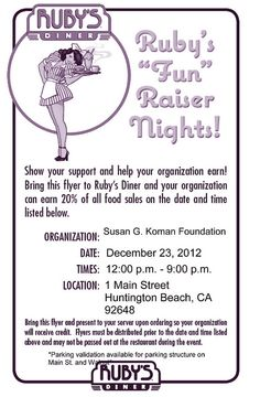 Help support the fight against #breastcancer by dining at #Ruby's Diner in Huntington Beach this Sunday! This flyer will guarantee 20% of all food sales be donated to the Susan G. #Komen Foundation.