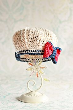 Girls Hat, Vintage Inspired Nautical Beret, Girls Hat, Spring, Crochet, Sailor