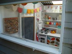 mousehouse: A mousehouse playhouse Great ideas for cubby house interior. love the bunting and old telephone Playhouse Decor, Boys Playhouse, Playhouse Interior, Backyard Playhouse, Build A Playhouse, Playhouse Ideas, Cubby Houses, Play Houses, Doll Houses