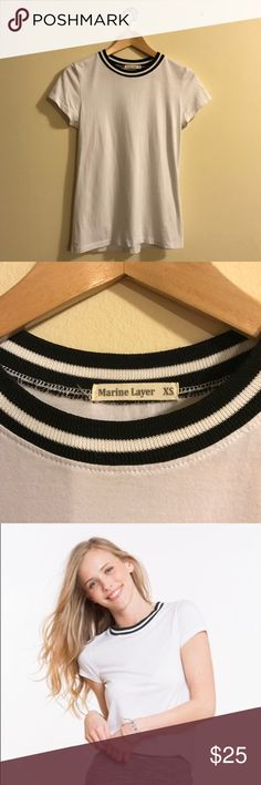 Marine Layer Riley Varsity Stripe Tee One twice! In perfect condition. Super soft Pima cotton tee with adorable black and white ringer collar. Marine Layer Tops Tees - Short Sleeve