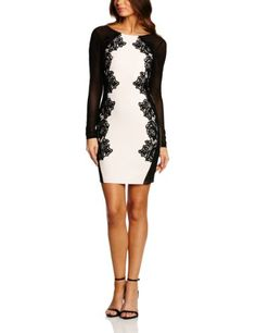 Lipsy Women's Long Mesh Sleeve Lace Applique Dress - This cream form fitting dress from Lipsy comes in a mini length and has sheer mesh sleeves and side panels with applique lace trims and an open V shaped back. £55.00