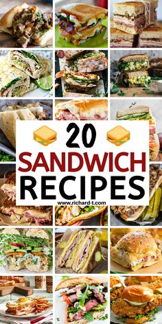 20 Amazing sandwich recipes which you can eat for lunch or dinner! These sandwich recipes are really creative and taste fantastic! Best Sandwich Recipes, Veggie Sandwich, Soup And Sandwich, Lunch Recipes, Mexican Food Recipes, Cooking Recipes, Low Carb Sandwiches, Dinner Sandwiches, Delicious Sandwiches