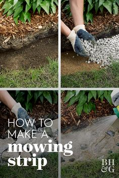 How to Make a Mowing Strip to Save Time in the Garden A paved strip between grass and beds or borders called a mowing strip, means you can mow your lawn without the worry of damaging plants or trimming afterward. Garden Yard Ideas, Lawn And Garden, Garden Projects, Garden Grass, Garden Tools, Garden Bed, Garden Leave, Shade Garden, Sun Projects