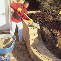 a concrete block retaining wall is the perfect solution to control erosion, to eliminate a hard-to-mow slope, to add a planting bed, or to level an ideal patio area. these systems are easy to install, durable, reasonably priced and available in a variety of colors and textures. this article shows you how to install one in a weekend.