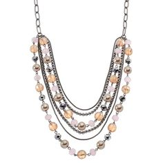 Simply Vera Vera Wang Simulated Pearl & Bead Swag Necklace, Multicolor