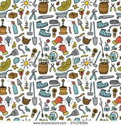 Garden hand drawn cartoon color seamless - stock vector