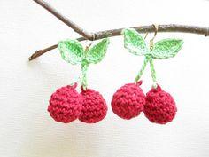 crochet red cherry earrings 9.00