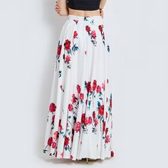 Long Skirts Women White Print Floral Red Rose Pleated Maxi Skirts Full Ball Grown Party High Waist Skirt Waist Skirt, Dress Skirt, High Waisted Skirt, Pleated Maxi, Maxi Skirts, Trendy Fashion, Boho Fashion, Vintage Fashion, Dress Clothes