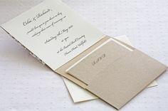 Rustic Lace wedding invitations pocketfold inside