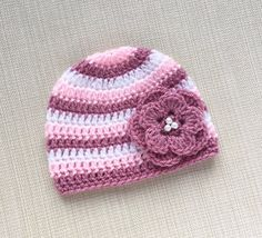 8fa38c5e7d4fb Crochet baby girl hat with flower 0 - 6 month