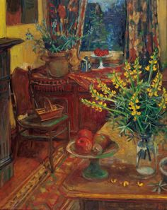 Yellow Lupins in Interior, 1991, Margaret OLLEY