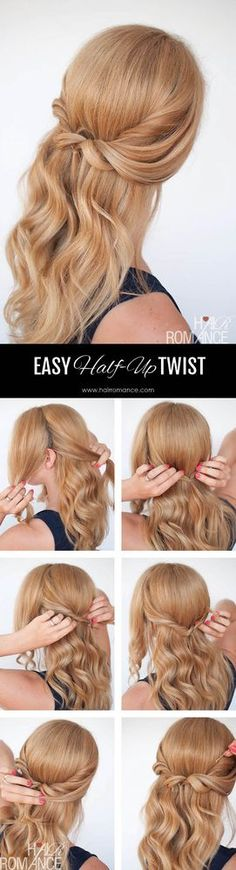 Easy half-up twist hairstyle tutorial